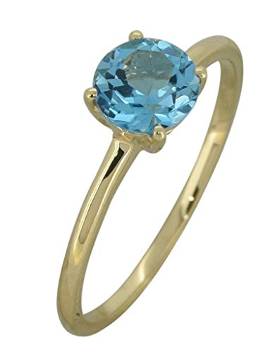 YoTreasure 1.10 Ct. Round Swiss Blue Topaz Solid 10K Yellow Gold Solitaire Ring (Blue Topaz Ring Size 10)