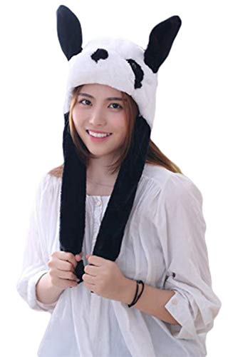 Adult Plush Animal Winter Hat Cute Hamster Cap with Ears Moving Cricetulu Headgear Halloween Novelty Party Props (Panda) ()
