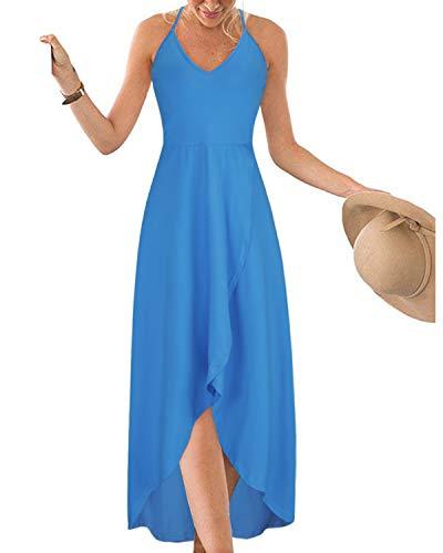 (KILIG Womens V Neck Sleeveless Asymmetrical Casual Maxi Dresses (Blue, XL))