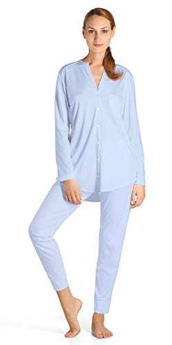 Hanro Women's Pure Essence Pajama, Blue Glow, X-Large