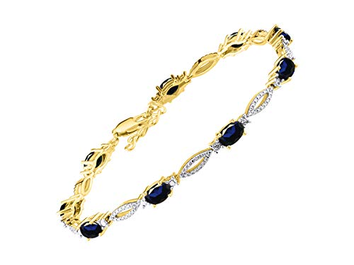 Stunning Blue Sapphire & Diamond Tennis Bracelet Set in Yellow Gold Plated Silver - Adjustable to fit 7