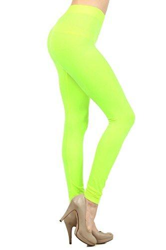 Fashion MIC Women's High Waist Nylon Seamless Leggings (Regular, Neon Green)