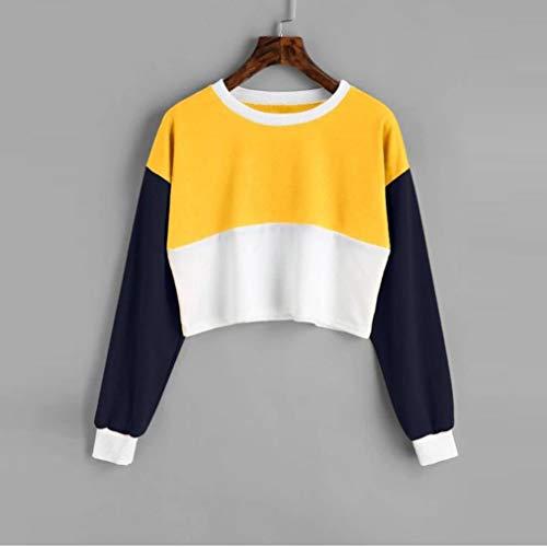 Col Hiver Couleurs BaZhaHei Sweat Court Jaune Rond Shirt Shirt Longue Manche Femmes des Automne Correspondance Sweat d8Up6vUn
