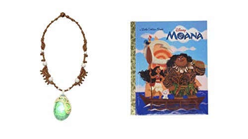 Moana Little Golden Book (Disney Moana) with Disney Moana's Magical Seashell Necklace Bundle from Sandberg Merchandise Trade, LLC