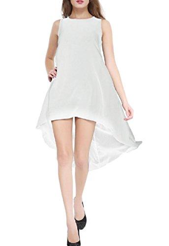 mujeres a Color Camiseta Asimetr Puro Vestido De Holgada Redondo Cuello Noche Blanca Coolred De CRWwqUX
