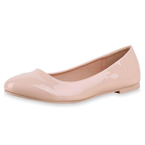 Japado Klassische Damen Ballerinas Flats Spitze Häkeloptik Leder-Optik Slippers Ballerina Schuhe Metallic Schleifen Pailletten Rosa Rosa