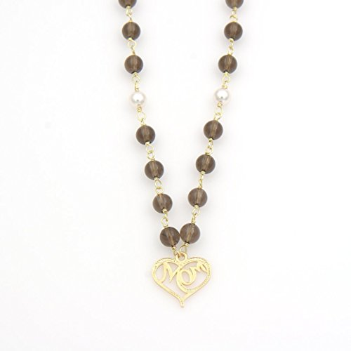 Mom Heart Pendant Smoky Quartz Gemstone Necklace - Swarovski White Round Pearls, 0.75 & 20.5-in (Necklace Swarovski Quartz Smoky)