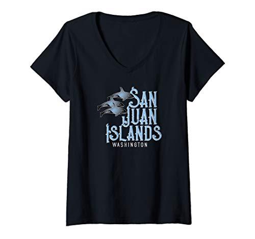 Womens San Juan Islands Washington Shirt with Orca Pod V-Neck T-Shirt