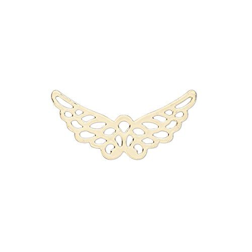 (Charm gold-finished steel 25x12mm wing with cutout-H20-B1996FN)