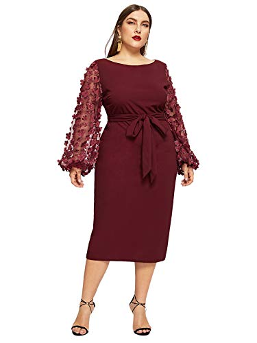 SheIn Women's Plus Size Elegant Mesh Contrast Pearl Beading Sleeve Stretchy Bodycon Pencil Dress Burgundy 1X-Large