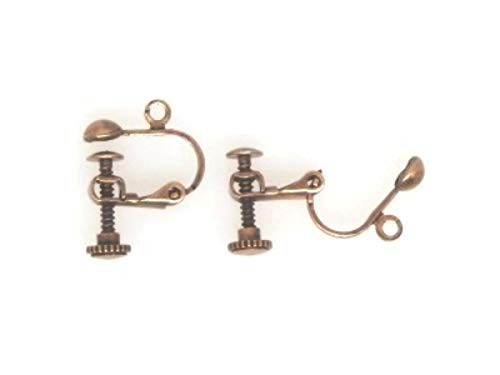 20pcs(10pairs) Clip On Ear Wire 17x13.5mm, with Adjustable Screw, Antique Copper Plated Brass
