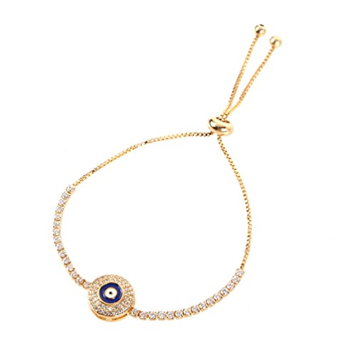 SAKAIPA Gold Silver Plated Charm Bracelets CZ Women Jewelry (Golden Evil Eye)