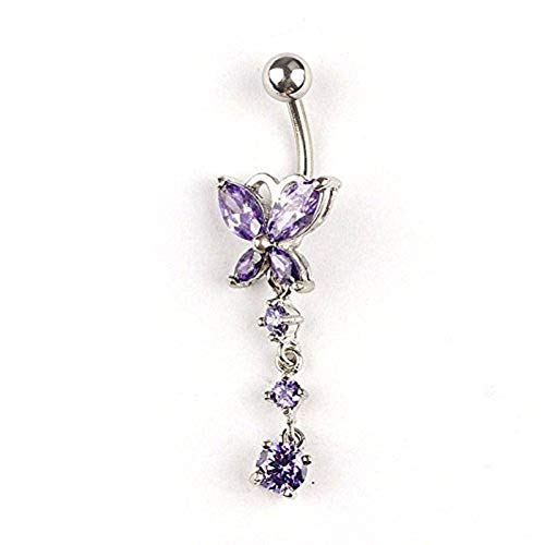 Kosaire Zircon Stainless Steel Butterfly Belly Ring Belly Button Rings (Purple) ()
