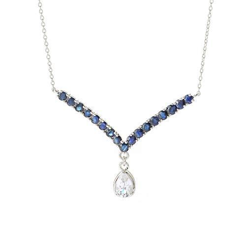 Blue Topaz Pendant 18' Chain - Pinctore SS/ 1.1ctw White Topaz & 2.3ctw Blue Sapphire Cushion Pendant with 18' Chain