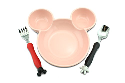 Finex Mickey Mouse Head Shape Premium Ceramics Plate With Spoon And Fork Set  Pink