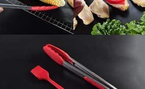 CXUKUN Lot de 5 tapis de cuisson réutilisables pour barbecue avec pinces et brosse en silicone Noir