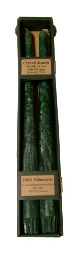 Biedermann & Sons 12-Inch Vegetable Wax Taper Candles, Green, Set of 2