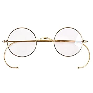 Agstum Retro Small Round Optical Rare Wire Rim Eyeglasses Frame 39mm (Gold, 39mm)