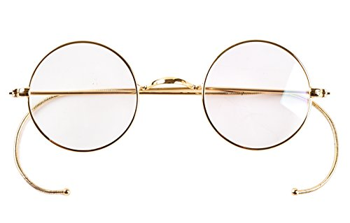 - Agstum Retro Small Round Optical Rare Wire Rim Eyeglasses Frame (Gold, 39mm)