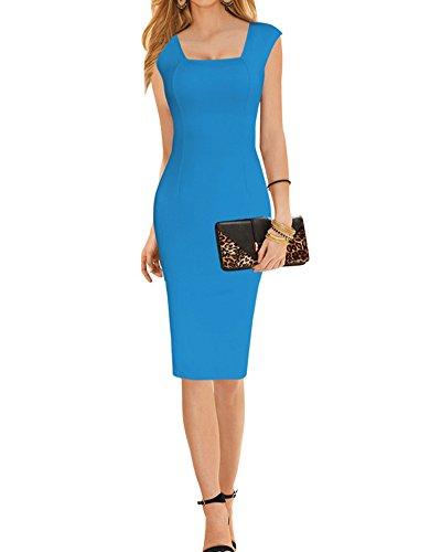 SaiDeng Vestido De Sin Manga Sin Tirantes Ajustado Volante Dress Para Fiesta Cóctel Mujer Azul