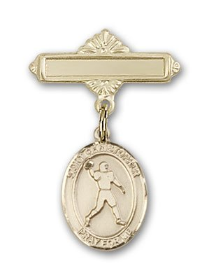 Football Polished - 14K Gold Baby Badge with St. Christopher/Football Charm and Polished Badge Pin