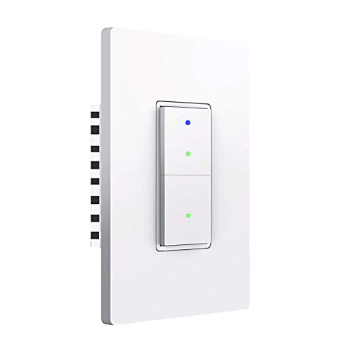 SANA Smart Wi-Fi Wall Light Switch,Physical Button,Compatible with Alexa and Google Home,APP remote control,No Hub Required,Requires Neutral Wire,White (1 Pack)