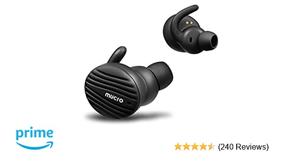 True Wireless Bluetooth Earbuds, MUCRO Extra Comfortable Noise Cancelling  Sports Headphones with Ear Hooks, Touch Control Bluetooth 5 0 TWS Earphones