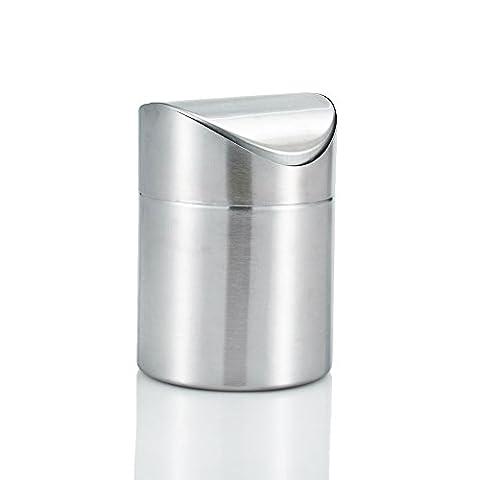 Amteker Mini Countertop Trash Can, Brushed Stainless Steel Table Desk Trash, Swing Top Trash Bin (Acciaio Inossidabile Benna)