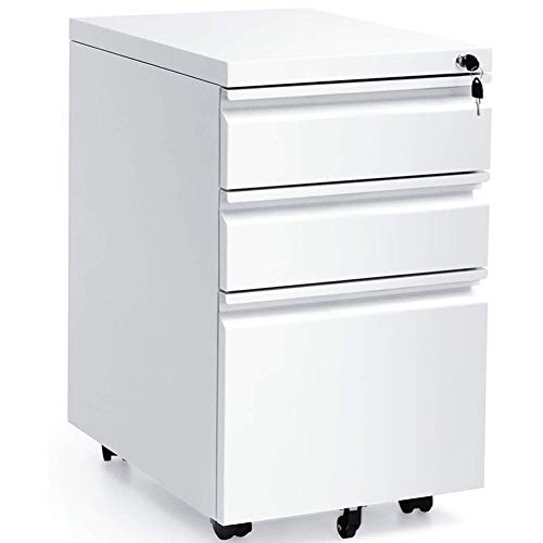 White 3 Drawer Filing Cabinet 26 Inch Metal Pedestal File Cabinet with Lock Rolling Filing Cabinet on 5 Wheels, Fully Assembled for Office Home White A