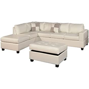 Bobkona Soft Touch Reversible Bonded Leather Match 3 Piece Sectional Sofa  Set, White Part 48