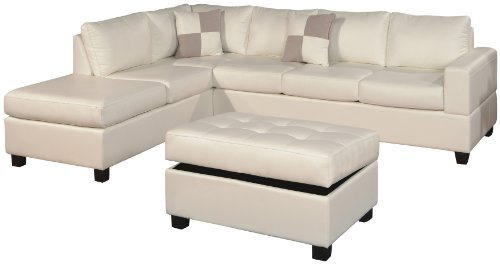 Bobkona Soft-touch Reversible Bonded Leather Match 3-Piece Sectional Sofa Set, White (White Sofa Sectional Furniture)