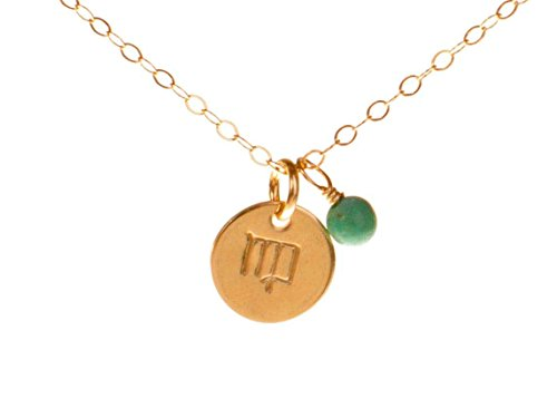 Virgo Necklace - Tiny Gold Filled Simple Zodiac Sign with Birth Month (Virgo Zodiac Pendant Necklace)