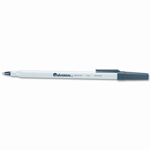 - Universal : Economy Stick Ballpoint Pen, Gray Barrel, Black Ink, Fine Pt, .70 mm -:- Sold as 2 Packs of - 12 - / - Total of 24 Each