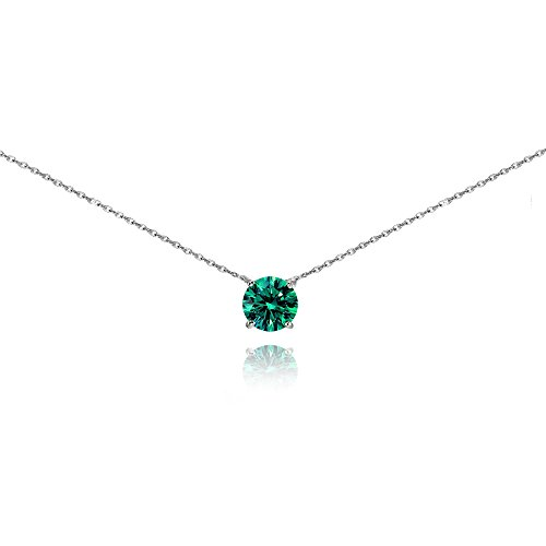 Sterling Silver Blue Solitaire Choker Necklace set with Swarovski (Birthstone Necklace)