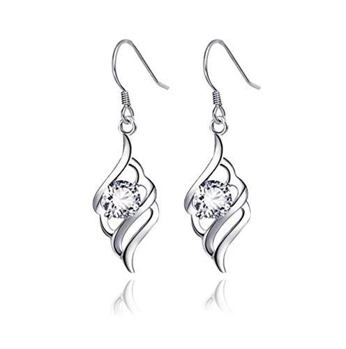 (MiniJewelry Linear Swirl Sterling Silver Dangle Earrings with CZ Crystal)