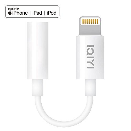 [Apple MFi Certified] Lightning to 3.5 mm Headphone Jack Adapter Compatible with iPhone 8/8 Plus/X/Xr/Xs/7/7 Plus, Music Control & Calling Function Supported,Support iOS 11,10.3 and More  White