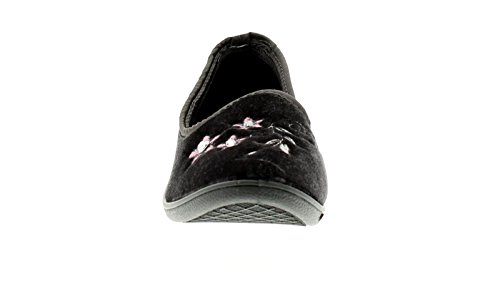 NEU Damen / Damen dunkelgrau Velour Ober Slipper Pantoffeln - dunkelgrau - UK Größen 3-9 - Dunkelgrau, 41