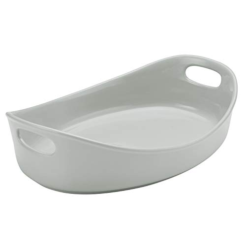 - Rachael Ray Stoneware Bubble and Brown Oval Baker, 4.5-Quart, Light Sea Salt Gray