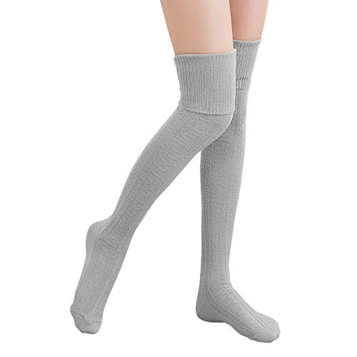 (HITOP Thigh High Over Knee Socks for Women Girl,Winter Warm Crochet Long Socks Leg Warmer Leggings)