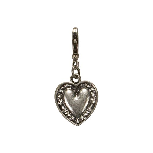 Bavarian Charm Heart small (silver coloured) - Traditional German Pendant Necklace, Charivari, Bracelet