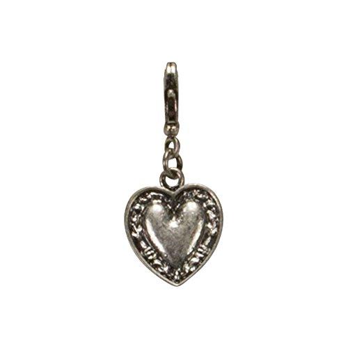 Bavarian Charm Heart small (silver coloured) - Traditional German Pendant Necklace, Charivari, Bracelet