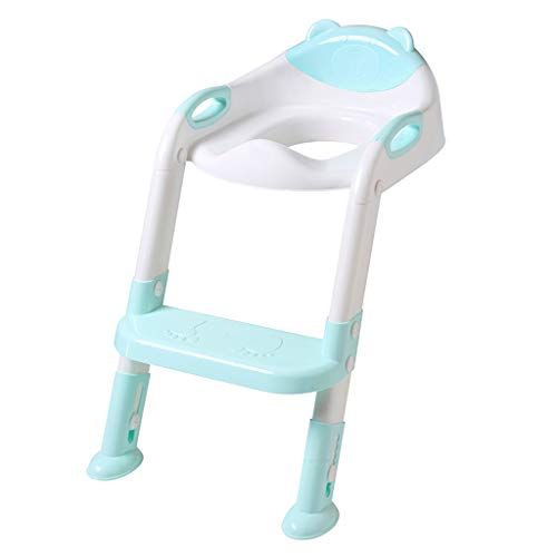 Cuekondy 2019 New Toilet Training Seat with Step Stool Ladder Adjustable Foldable Step Potty Chair for Toddler Kids Children Boys Girls (Blue -1) (Best Nursing Chair 2019)