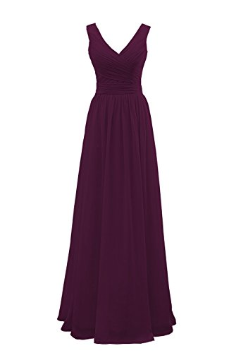 - YORFORMALS V-Neck Floor Length Chiffon Plus Size Evening Dress Long Formal Party Gown Ruched Bodice Size 18 Plum