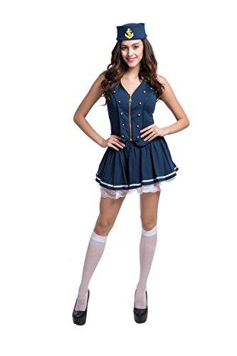 Sailor 40s Costume Up Pin (Honeystore Women's Sexy Sailor Girl Pinup Uniforms Halloween Fancy Dress Costume)