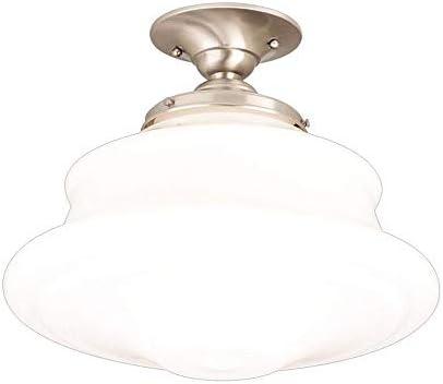 Hudson Valley Lighting 3416F-SN Petersburg Collection – One Light Semi Flush Mount, Satin Nickel