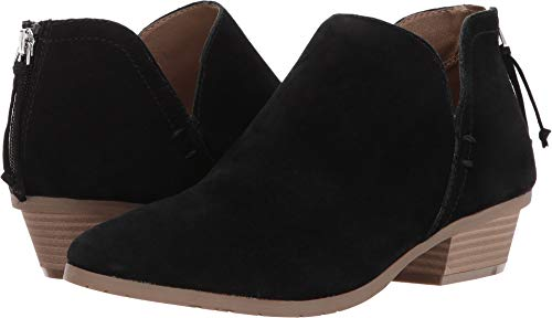 Sandals Suede Cole Kenneth (Kenneth Cole REACTION Women's Side Way Low Heel Ankle Bootie Boot, Black, 6.5 M US)