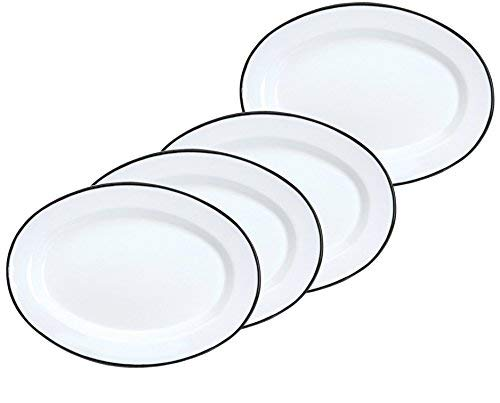 (Crow Canyon Enamelware Oval Dinner/Salad/Serving Plates, Classic Tableware - Set of 4 - Solid White with Black Rim Color, 12 Inches x 8.75)