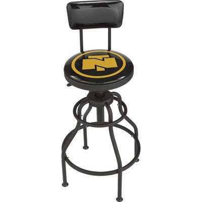 Northern Tool Adjustable Swivel Shop Stool with Backrest - Steel, 275-Lb. Capacity, 29 to 33in. Seat Height (Craftsman Adjustable Seat)