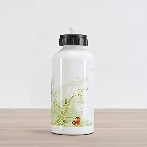 Ambesonne Floral Aluminum Water Bottle, Swirled Petals Lines on Grunge Background Retro Scroll Botany, Aluminum Insulated Spill-Proof Travel Sports Water Bottle, Pale Green Pistachio Green Ruby ()
