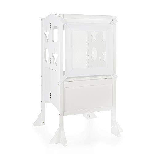 - Guidecraft Classic Kitchen Helper Stool - Ivory W/ Keeper and Non-Slip Mat: Adjustable Height Counter, Folding Step Stool for Safe Cooking with Toddlers, Chalkboard & Whiteboard
